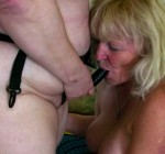 older women sucking on strapon