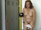granny having fun in locker room